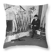 Viet Nam Vet John Dane With His Weapons Collection American Fork Utah 1975 Throw Pillow