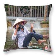 Vietnamese Lady Photographer At Tam Coc Throw Pillow