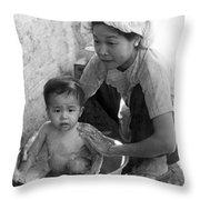 Vietnamese Orphan Bathing Throw Pillow