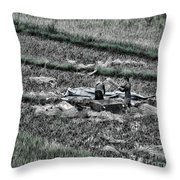 Vietnamese Rice Harvest  Throw Pillow