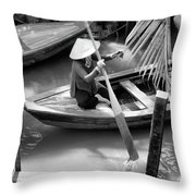 Vietnamese Woman Boat Ores Really For Tourist Mekong Delta  Throw Pillow