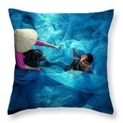 Vietnamese Women Repair Fishing Net And Fish Nets. Throw Pillow