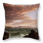 View Across Frenchman's Bay From Mt. Desert Island After A Squall Throw Pillow by Thomas Cole