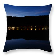View Across Lake Bled At Night Throw Pillow