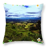 View And Inca/canari Ruins On Cojitambo II Throw Pillow