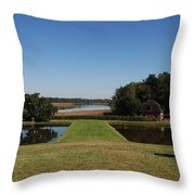 View Down To The Ashley River At Middleton Place Plantation Charleston Throw Pillow