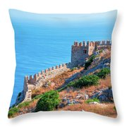View Far Out To Sea From Alanya Castle Throw Pillow
