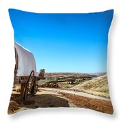 View From A Sheep Herder Wagon Throw Pillow