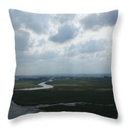 View From Abbey On Mont St. Michel Throw Pillow