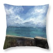 View From Bermuda Naval Fort Throw Pillow