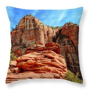 View From Canyon Overlook In Zion National Park Throw Pillow