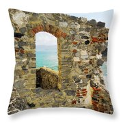 View From Doria Castle In Portovenere Italy Throw Pillow