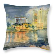 View From Quay Singapore Throw Pillow