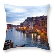 View From Rialto Bridge Of Venice By Night. Throw Pillow