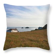 View From St Helen's Oratory Cape Cornwall Throw Pillow