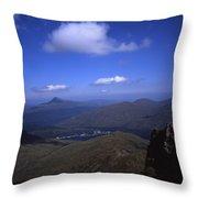 View From Summit Of Ben Arthur The Cobbler  Towards Loch Long Arrochar Loch Lomond And Ben Lomond Throw Pillow
