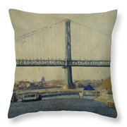 View From The Battleship Throw Pillow by Trish Tritz