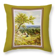 View From The Hill On The Village Below. P B With Decorative Ornate Printed Frame. Throw Pillow