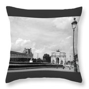 View From The Louvre In Black And White Throw Pillow