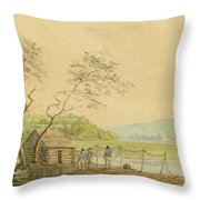 View From The Packet Wharf At Frenchtown Looking Down Elk Creek Throw Pillow