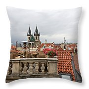 View From The Top In Prague Throw Pillow
