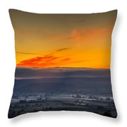 View From The Top Of Glastonbury Tor At Sunrise Throw Pillow