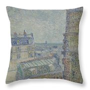 View From Theo S Apartment Paris, March - April 1887 Vincent Van Gogh 1853  1890 Throw Pillow
