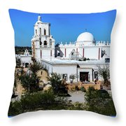 View From Tthe Hill - San Xavier Mission - Tucson Arizona Throw Pillow