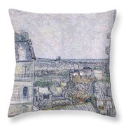 View From Vincent's Room In The Rue Lepic Throw Pillow