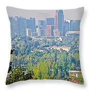 View From Wealthy Neighborhood In Hills Of Santiago-chile Throw Pillow