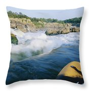 View From Whitewater Kayak At The Top Throw Pillow
