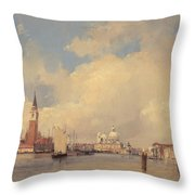 View In Venice With San Giorgio Maggiore Throw Pillow by Richard Parkes Bonington
