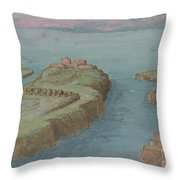 View Of A Fortified Headland Throw Pillow