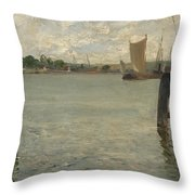 View Of A Harbour On The North Sea Throw Pillow