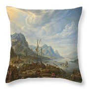 View Of A River With Boat Moorings Throw Pillow