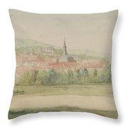 View Of A Town In Saxony Throw Pillow