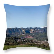 View Of A Village In Valley, Santa Throw Pillow