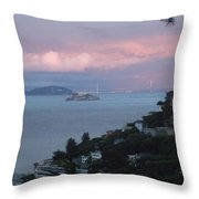 View Of Alcatraz From Our Sausalito Home Throw Pillow
