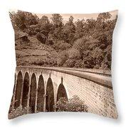 View Of Ancient Bridge Throw Pillow