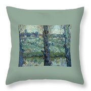 View Of Arles, Flowering Orchards Throw Pillow
