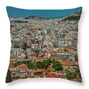 View Of Athens, Greece, From The Parthenon Throw Pillow