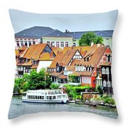 View Of Bamberg Riverfront Throw Pillow