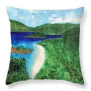 View Of Beach In St John Us Virgin Islands  Throw Pillow