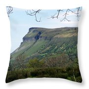 View Of Benbulben From Glencar Lake Ireland Throw Pillow