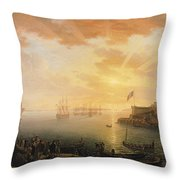 View Of Brest Harbor Throw Pillow