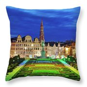 View Of Brussels From Jardin Du Mont Des Arts Throw Pillow by Barry O Carroll