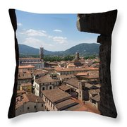 View Of Buildings Through Window Throw Pillow