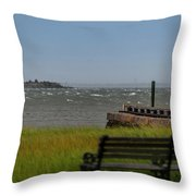 View Of Castle Pinckney During Tropical Storm Hermine Throw Pillow
