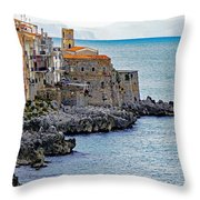 View Of Cefalu Sicily Throw Pillow