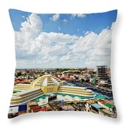 View Of Central Market Landmark In Phnom Penh City Cambodia Throw Pillow